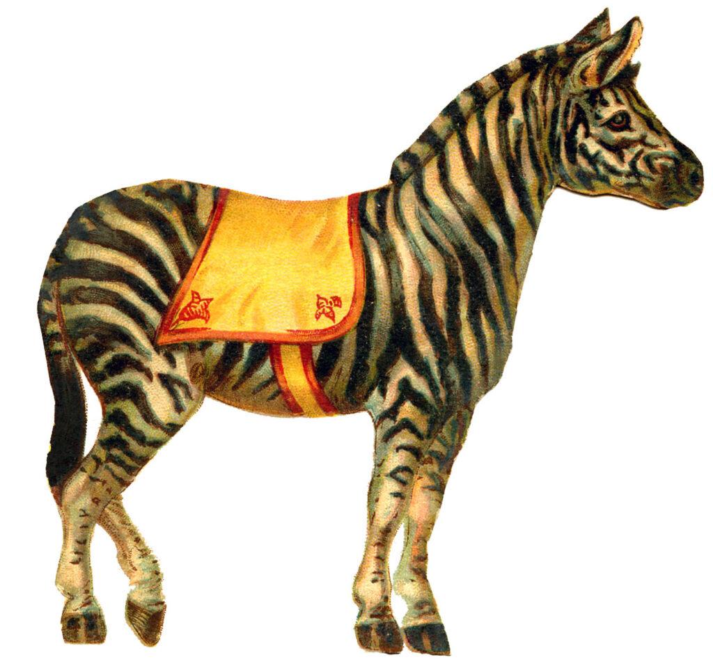 vintage circus zebra yellow saddle clipart