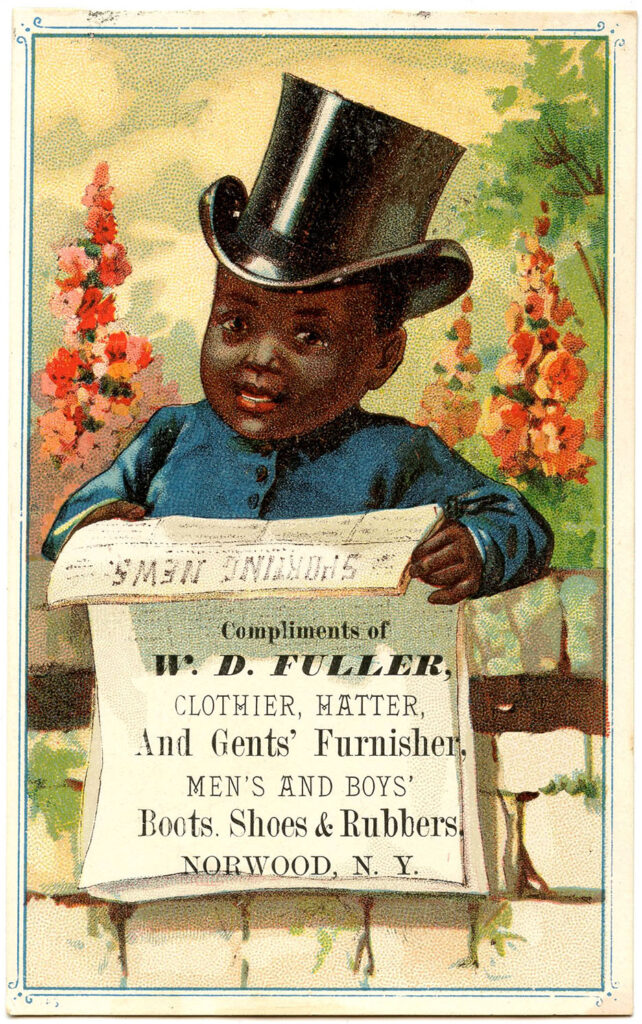 child top hat flowers vintage advertising image