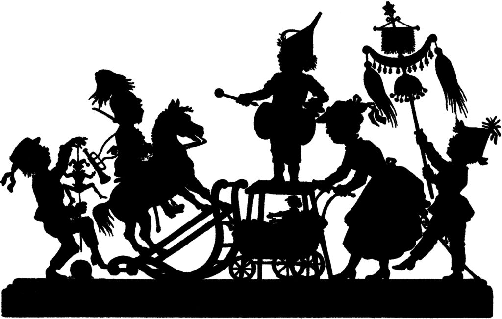 children parade vintage silhouette clipart