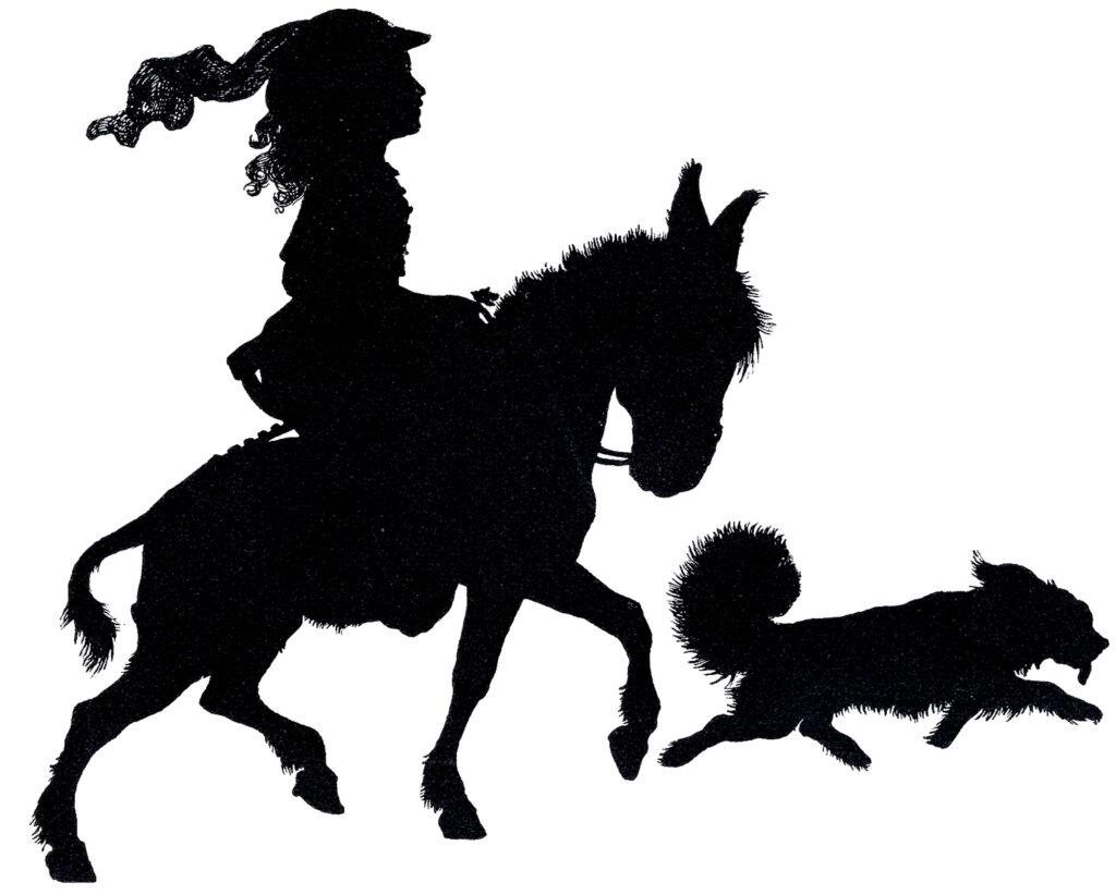 child donkey dog silhouette image