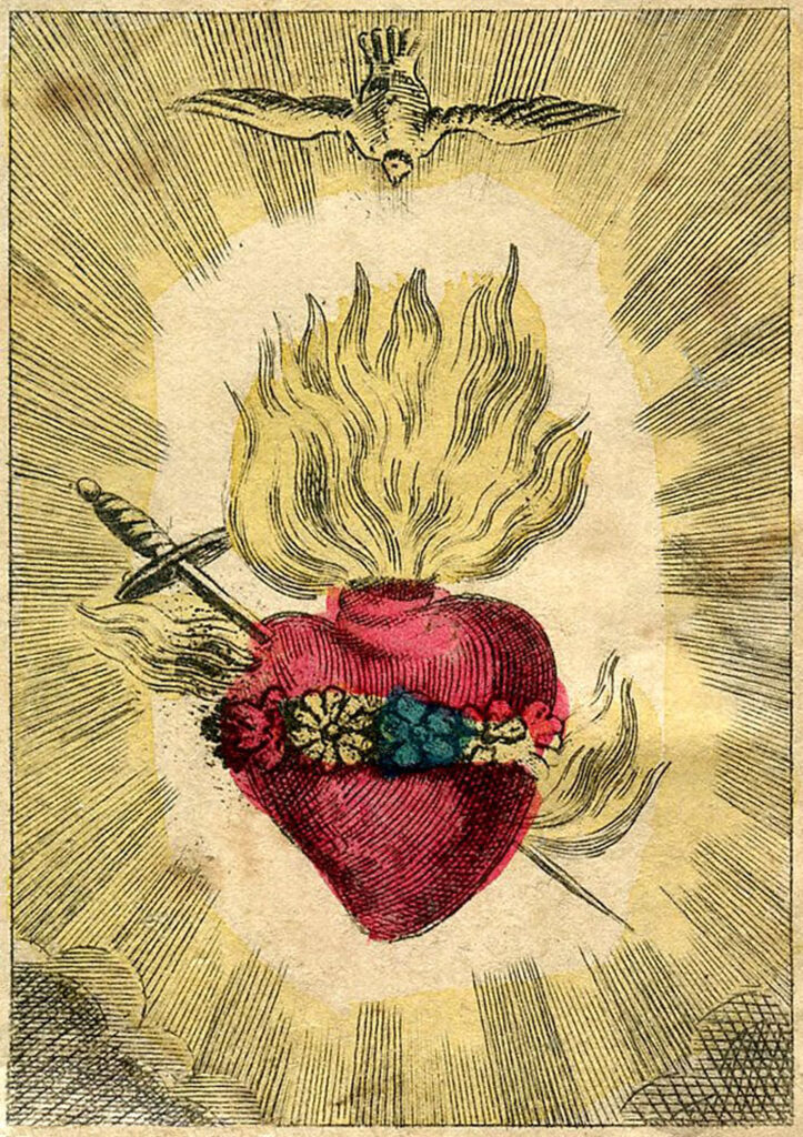 French sacred heart holy card image
