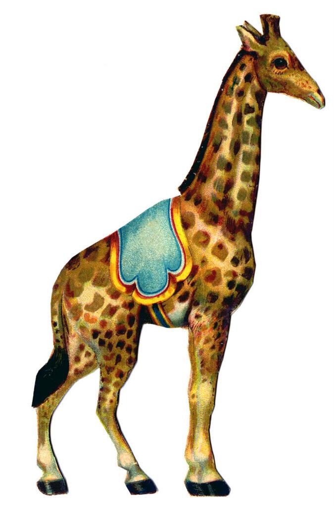 circus giraffe vintage clipart