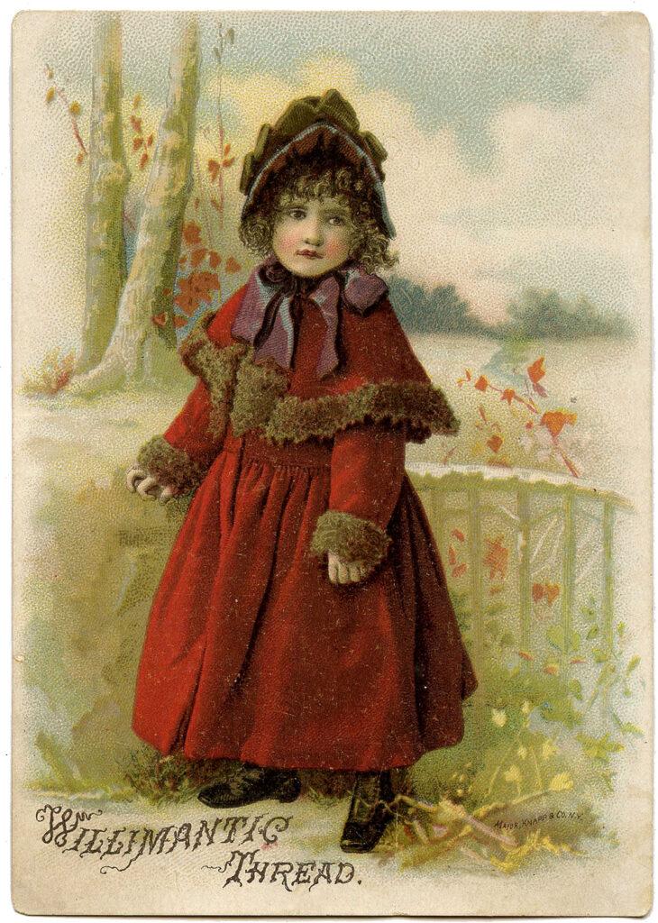 girl red coat hat fur trim illustration