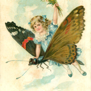 girl riding butterfly vintage image