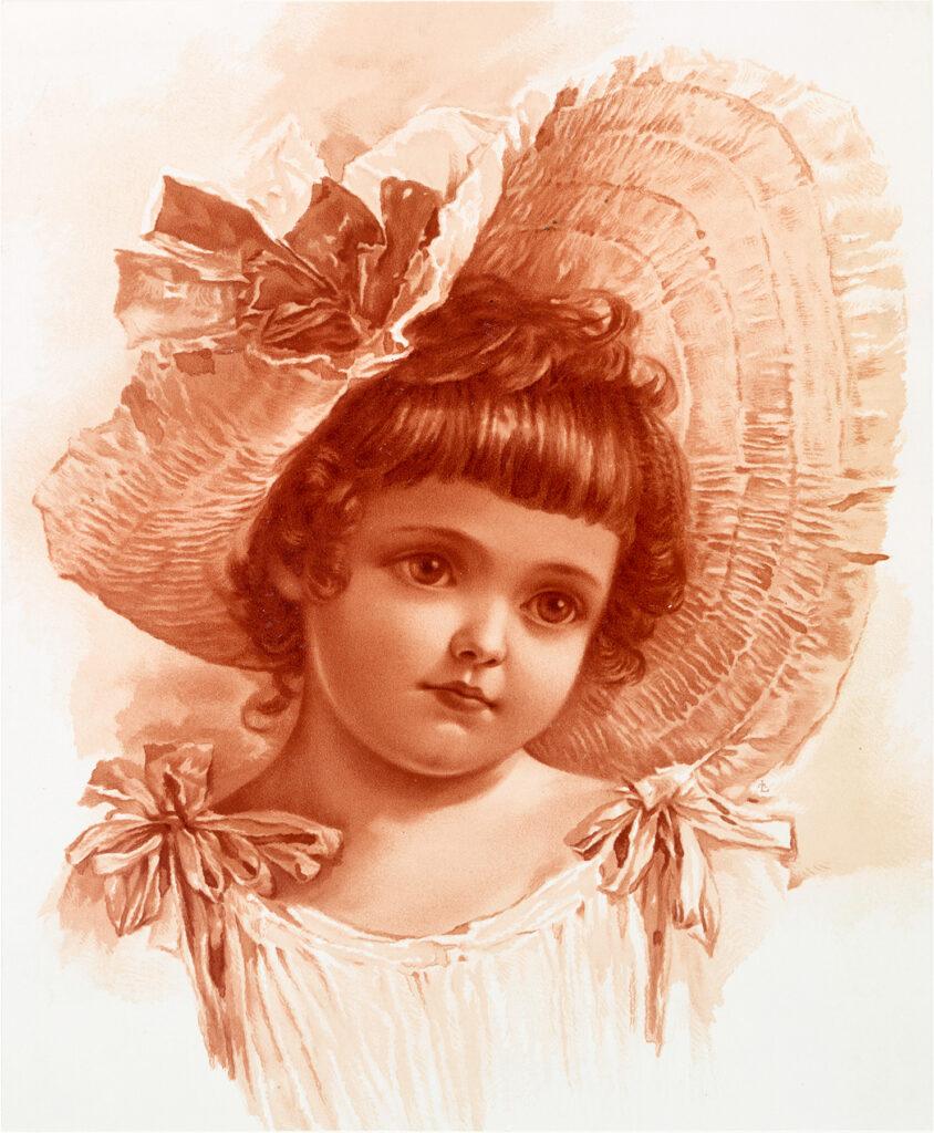girl ruffled hat sepia image