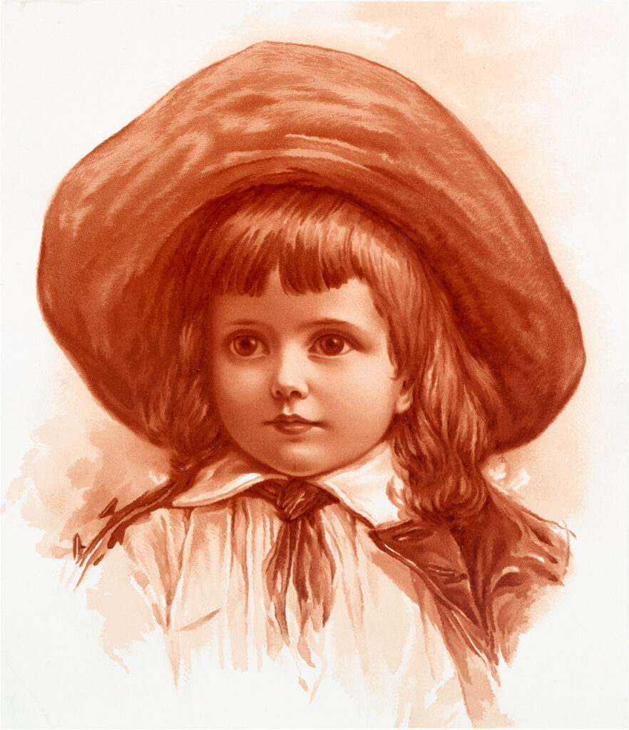 girl wide brimmed hat clipart