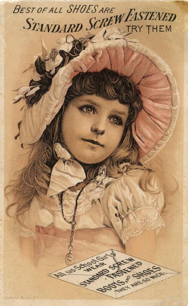 girl pink hat sepia image