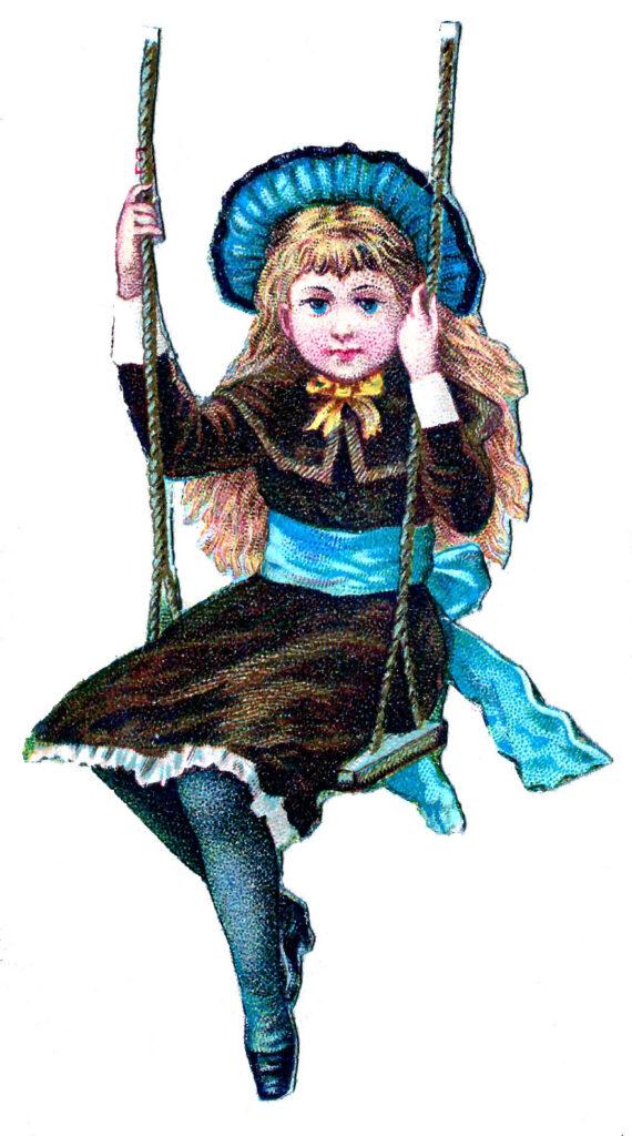girl swing blue hat illustration