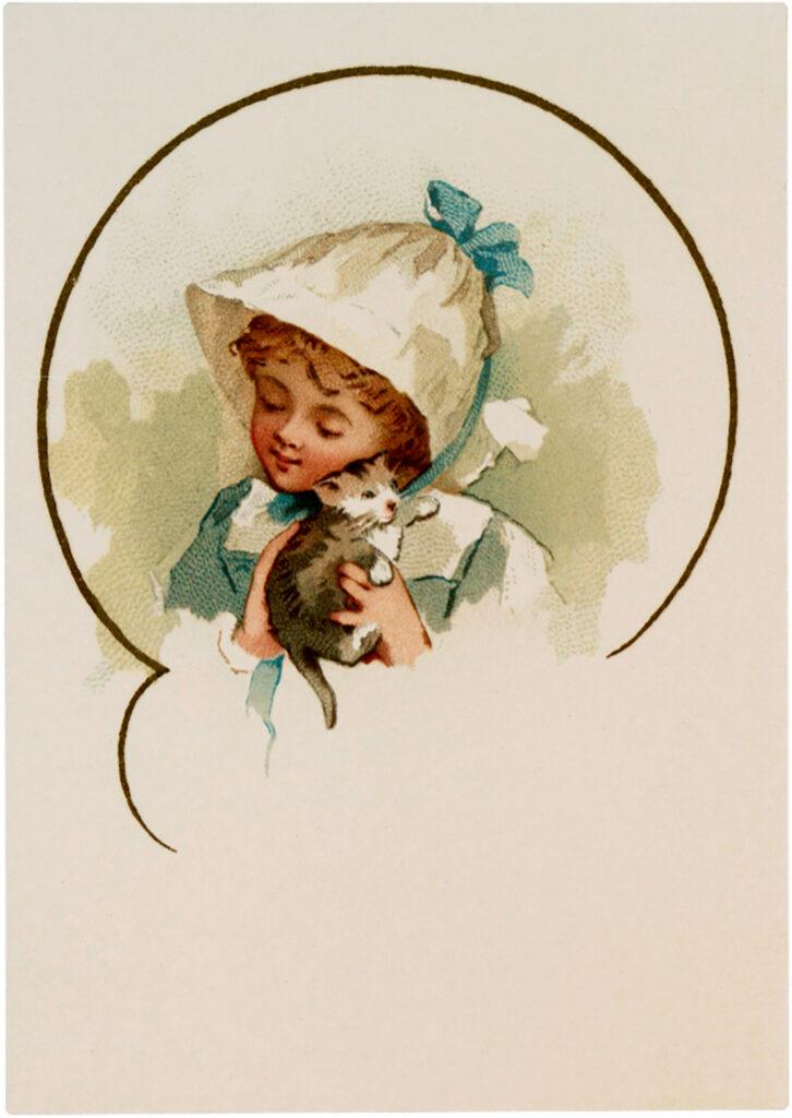 girl kitten hat illustration