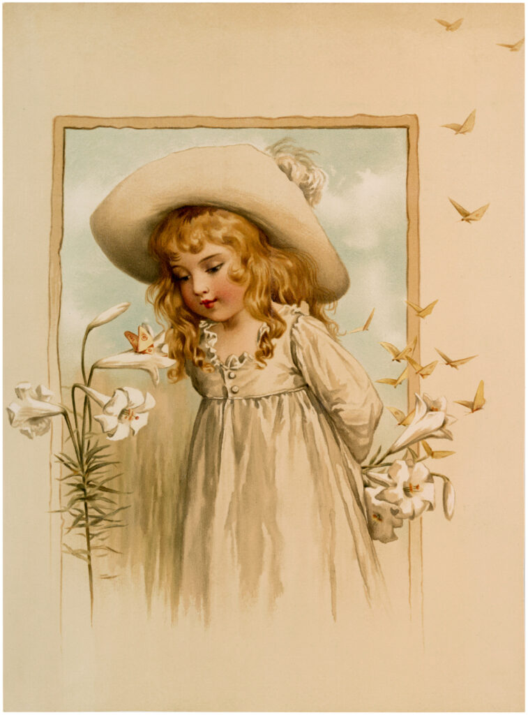 girl floppy hat lilies image