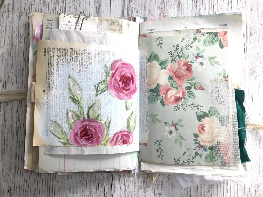 Handpainted Rose Journal Page