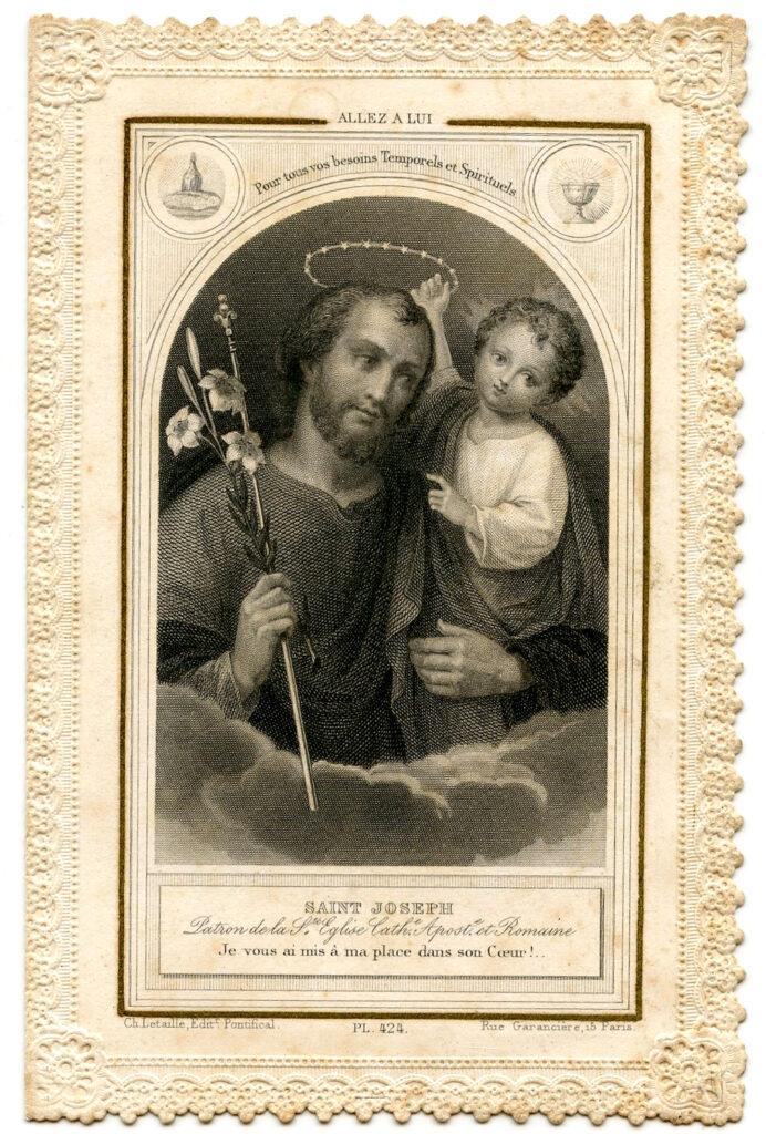 St Joseph Jesus vintage holy card image