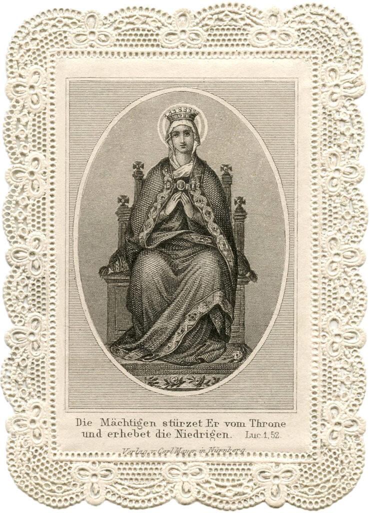 lace holy card mary illustration