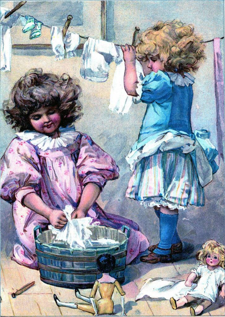 children laundry washing clothesline image
