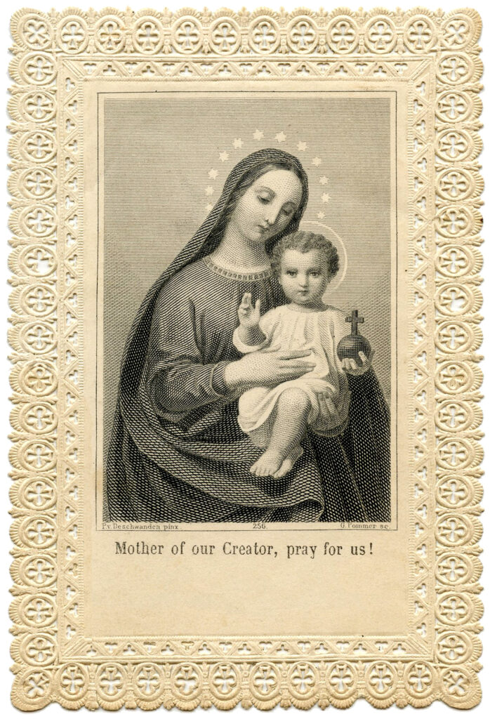 Mary baby Jesus Holy Card illustration