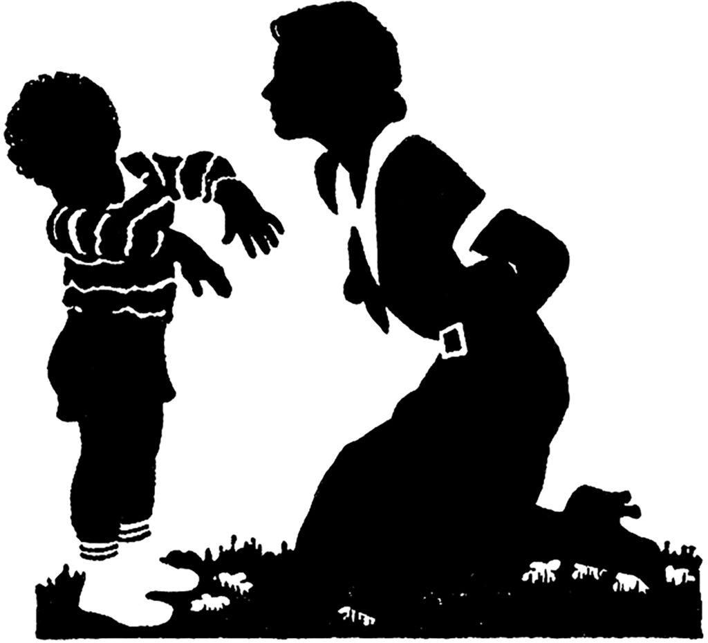 mother scolding child illustration