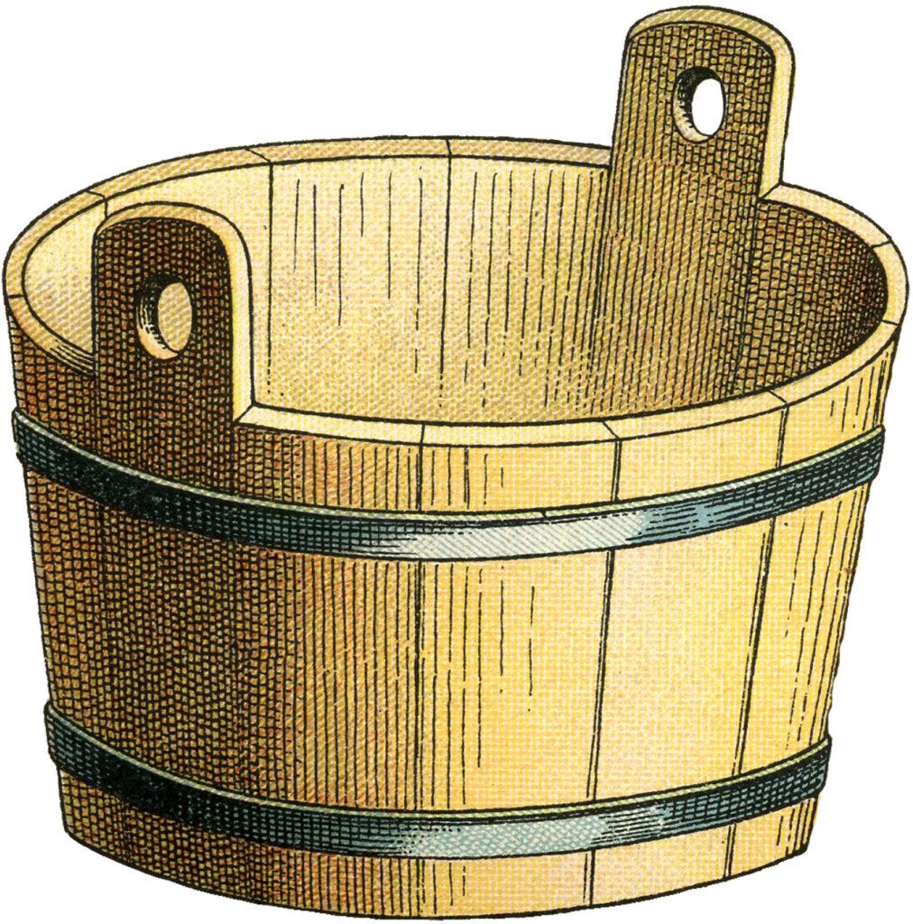 wood laundry bucket clipart