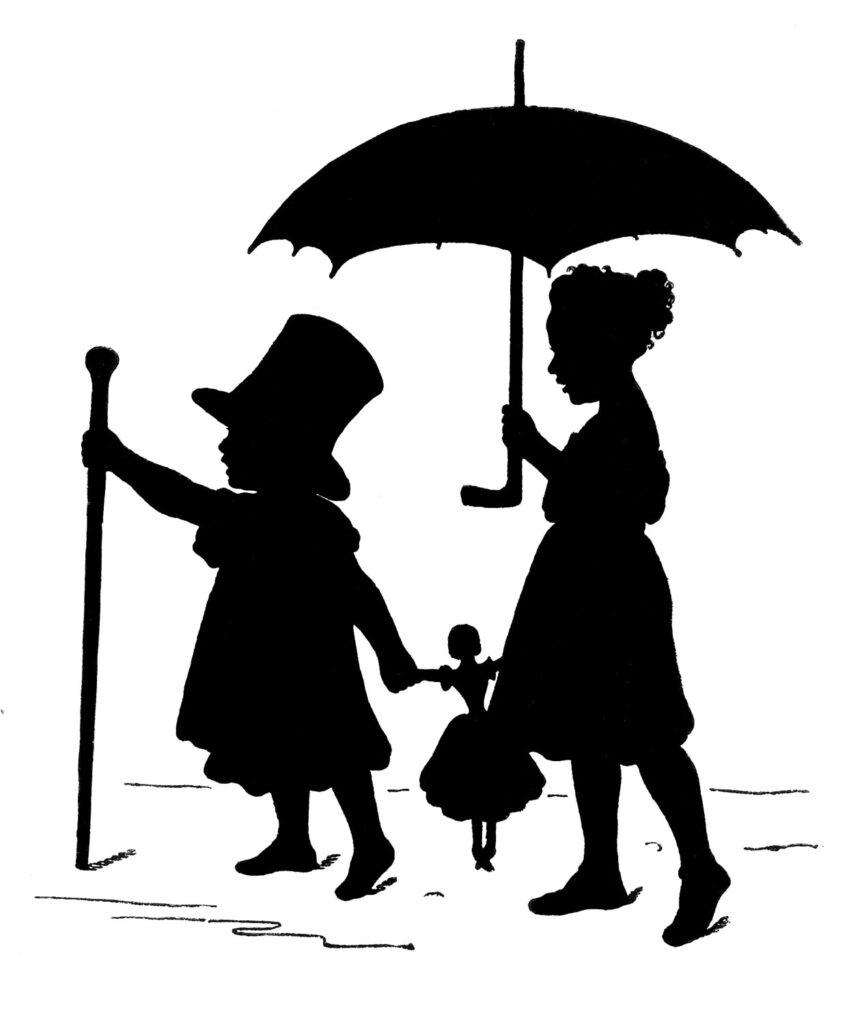 children silhouette doll umbrella illustration