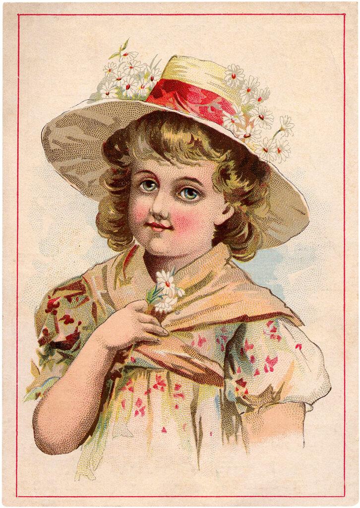 vintage trade card girl hat image