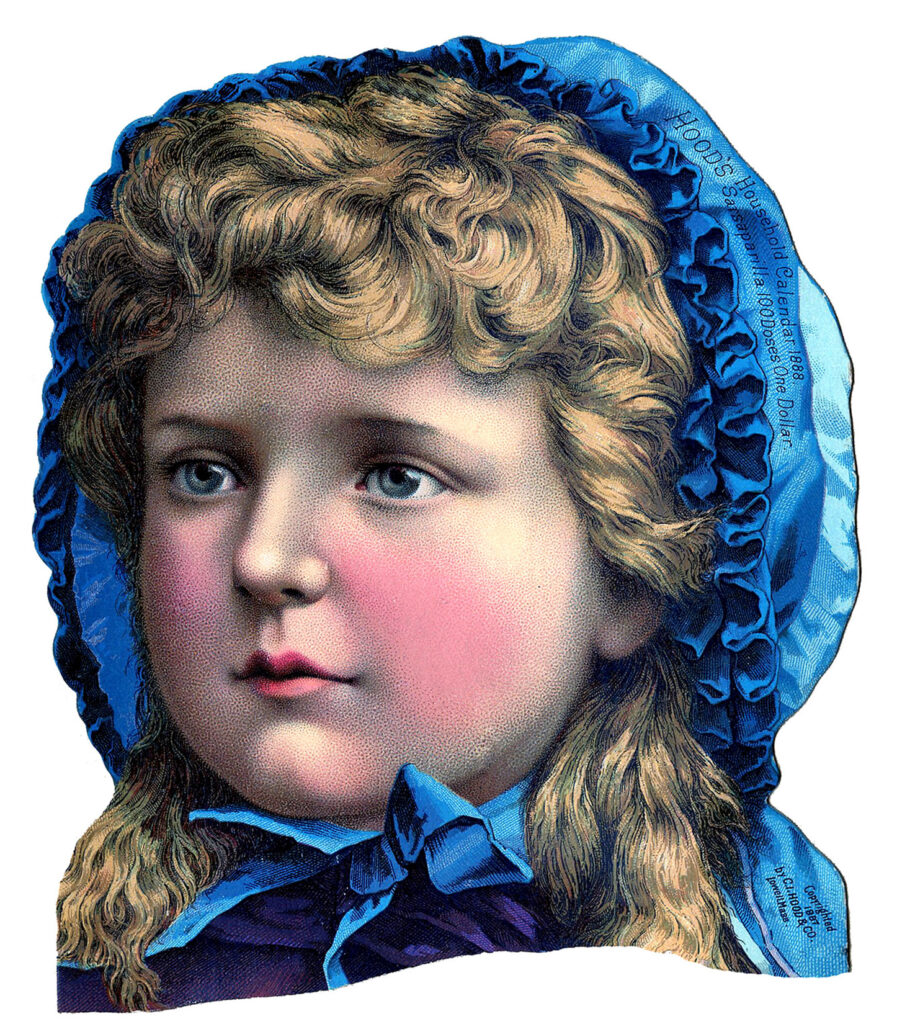 Victorian girl blue hat clipart