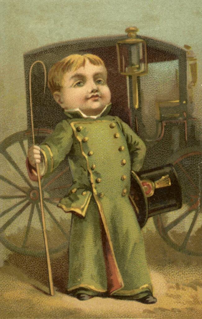 vintage carriage boy top hat cane illustration