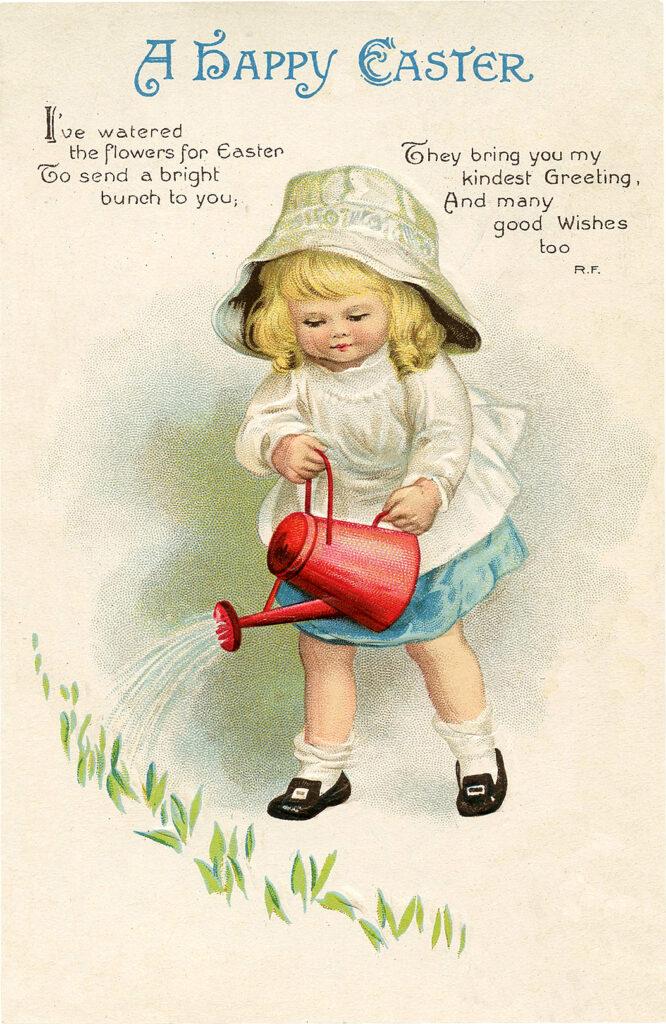 vintage garden girl watering can hat illustration