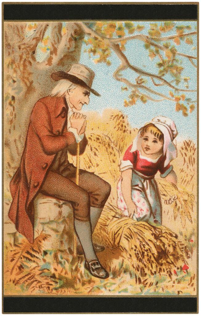 man child wheat harvest illustration