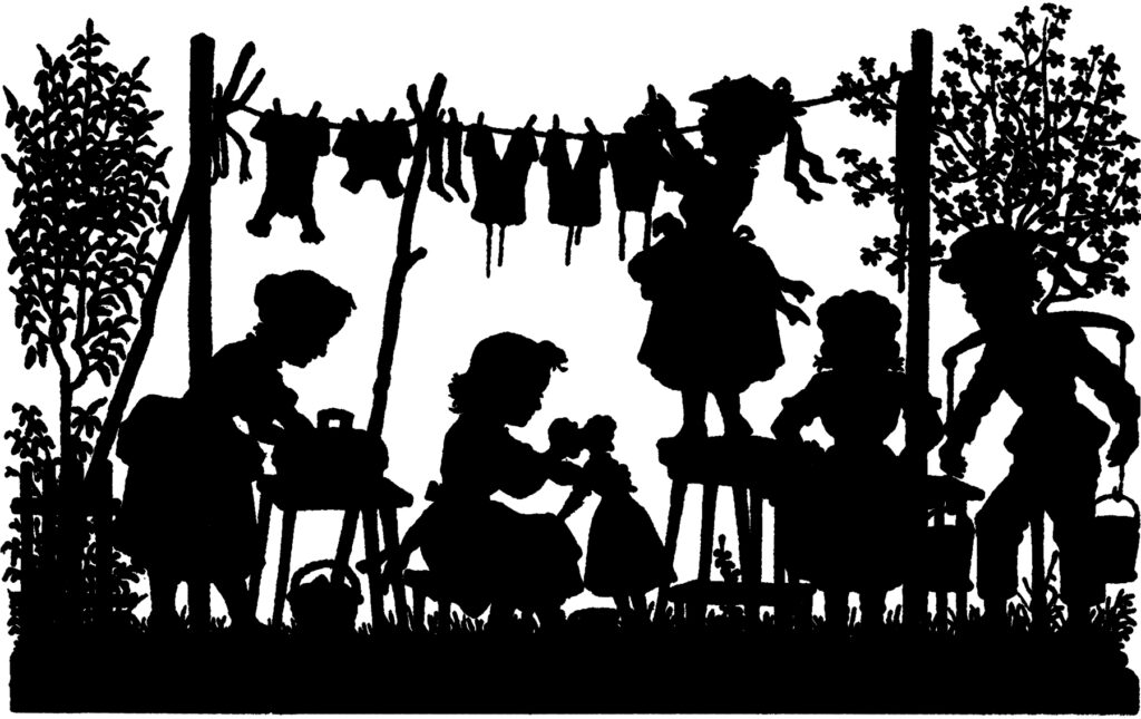 vintage laundry day children playing image