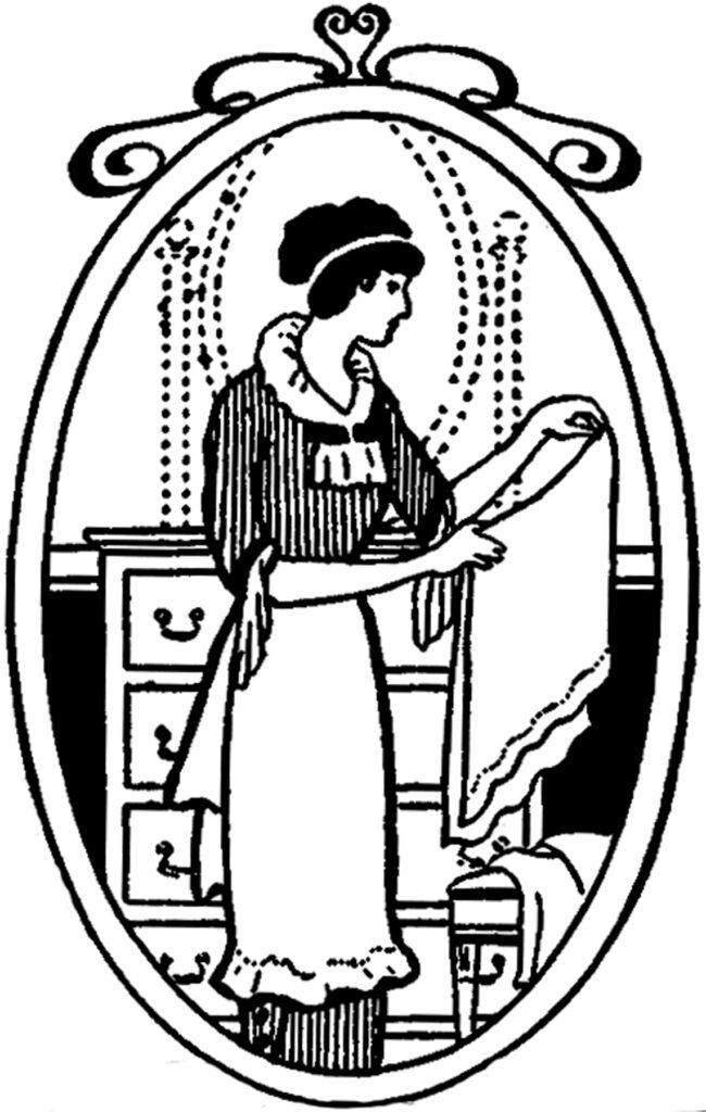 woman maid folding laundry image