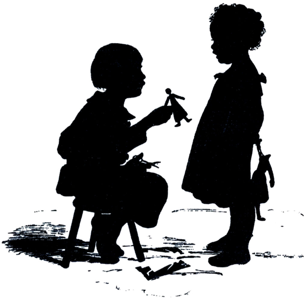 children paper dolls vintage illustration