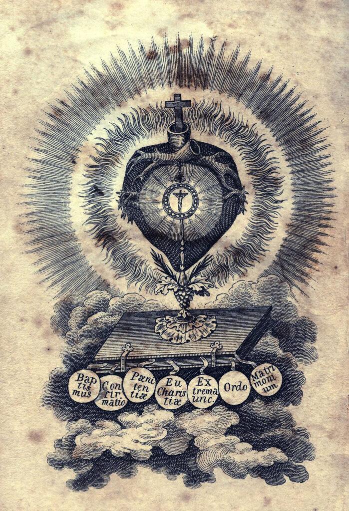 vintage sacred heart holy card illustration