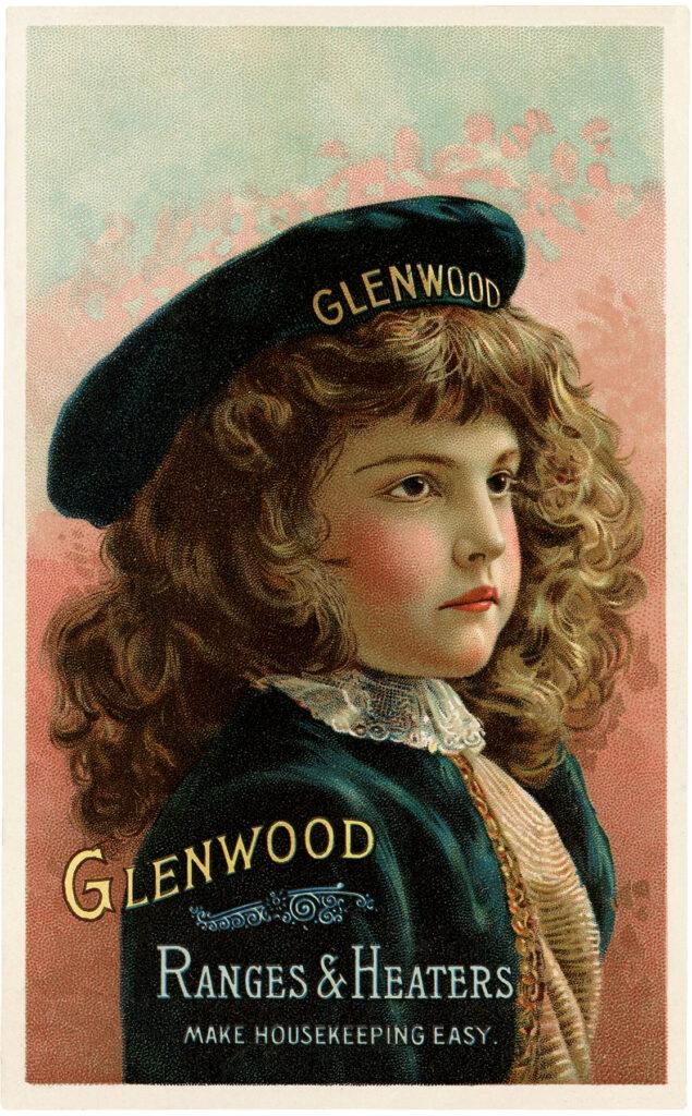 vintage girl brown hair navy hat advertising image