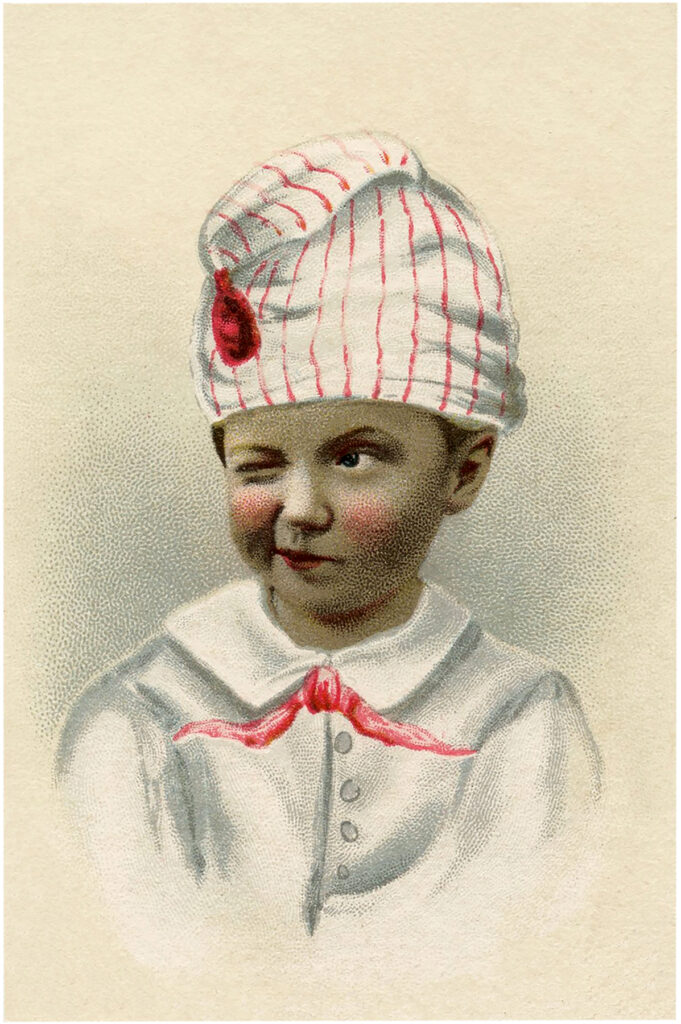 winking boy striped hat illustration