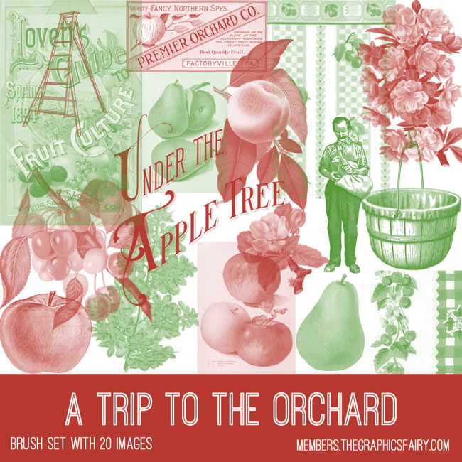 vintage a trip to the orchard ephemera brush set