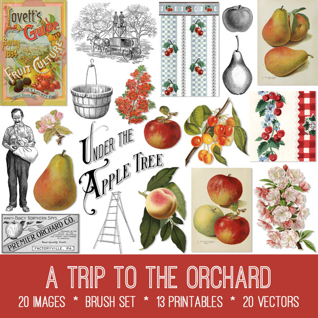 A Trip to the Orchard vintage images