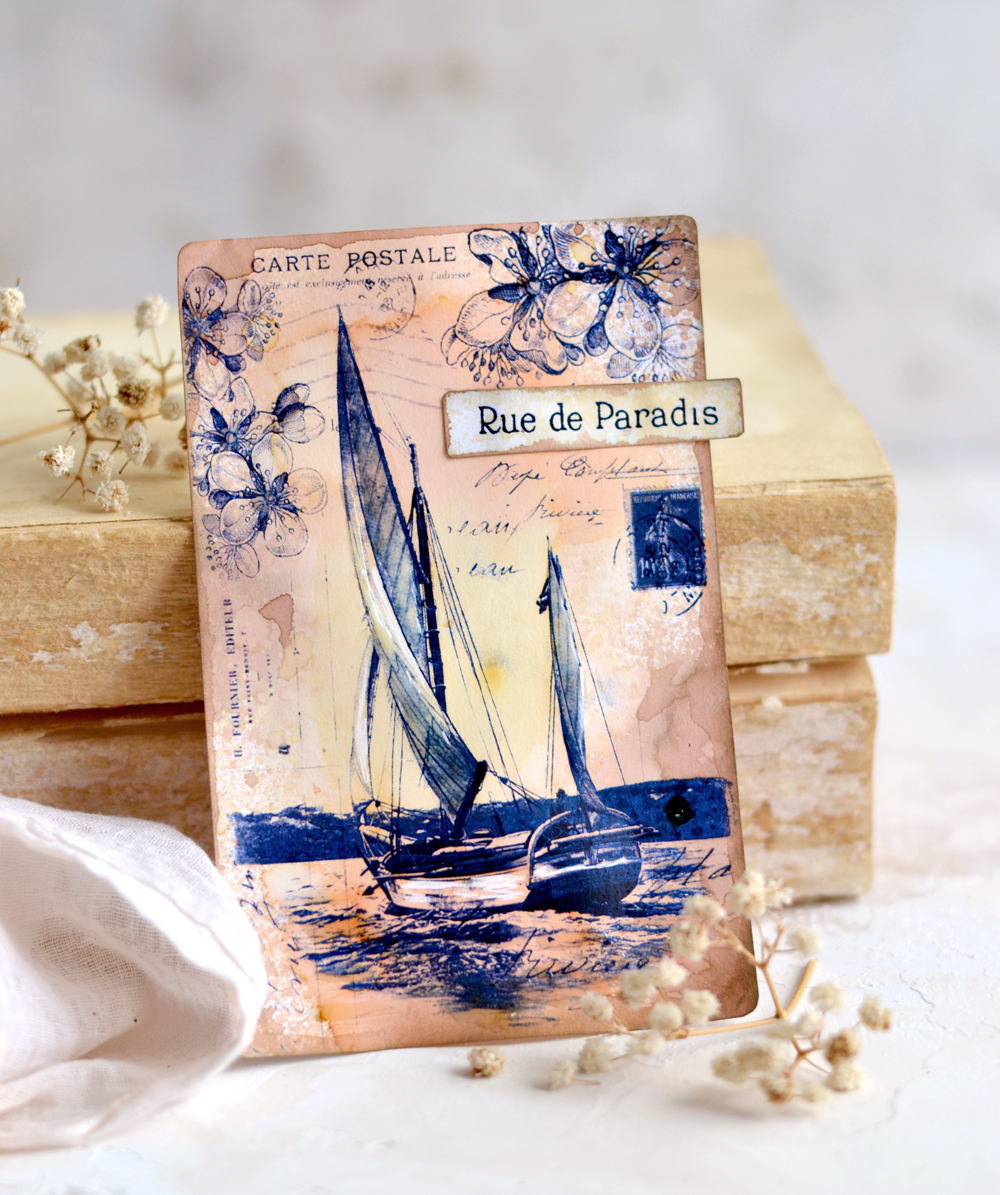 Blue Sailboat French Postcard Tags