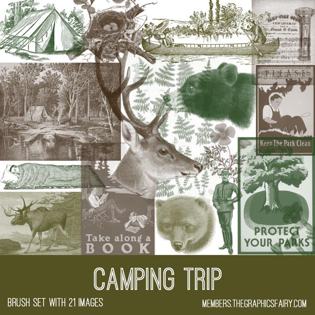 vintage camping trip ephemera brush set