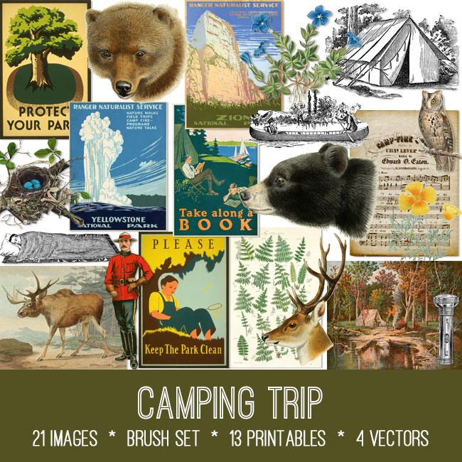 camping trip ephemera vintage images