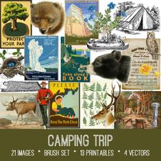 vintage camping trip ephemera bundle