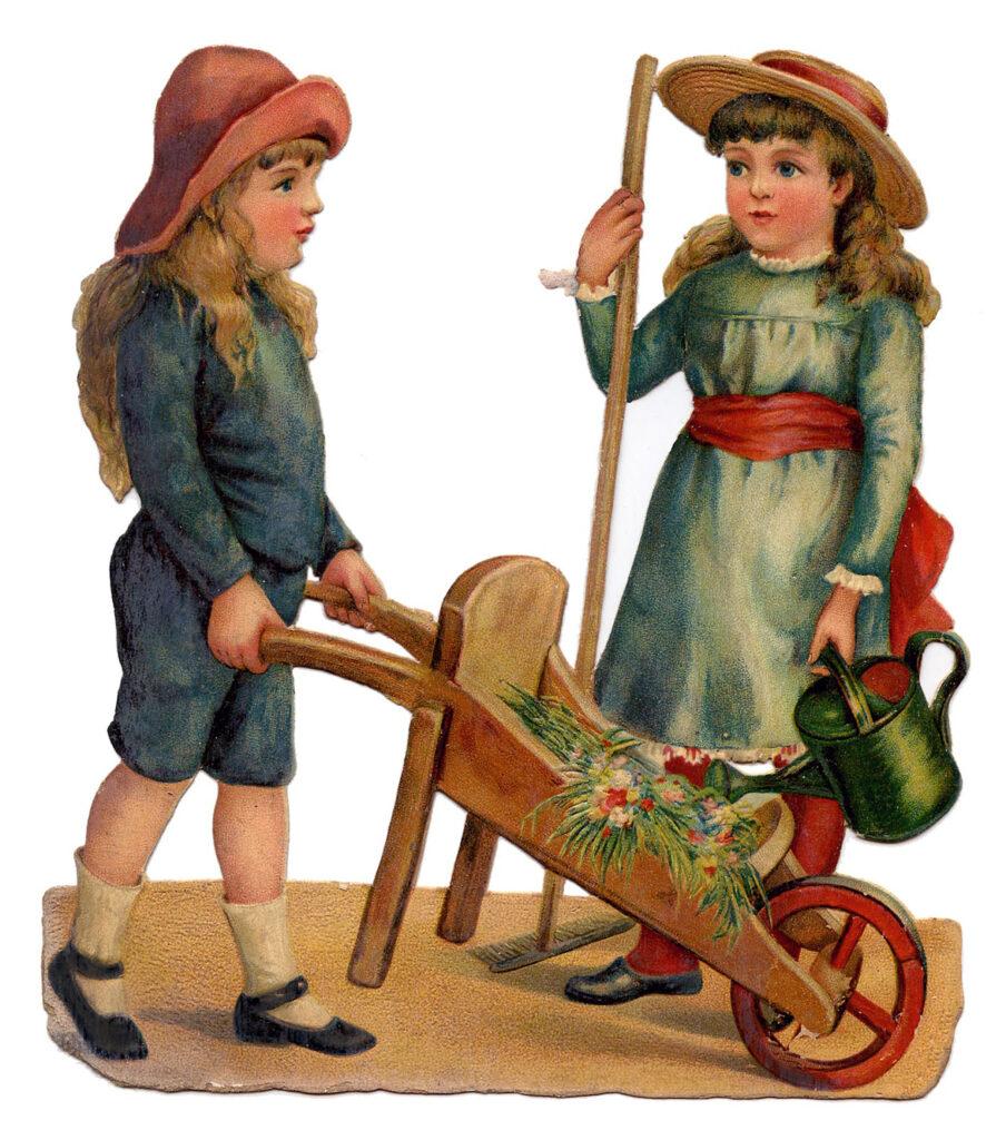 kids hats watering can wheelbarrow clipart