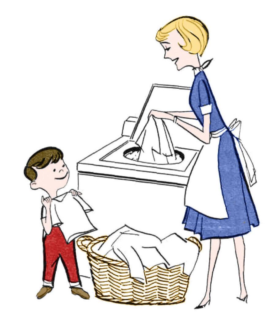 retro mother child laundry washing machine image