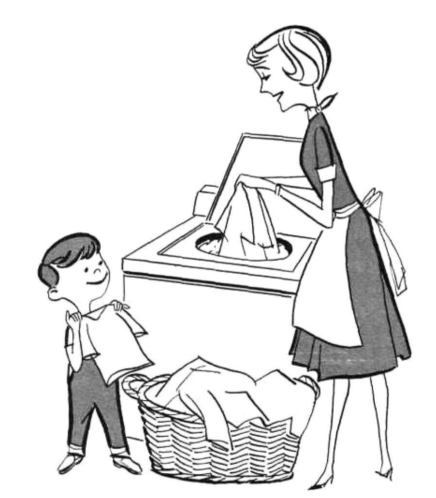 retro laundry mother washing machine boy folding laundry clipart