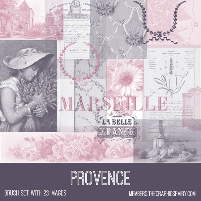 vintage Provence ephemera brush set