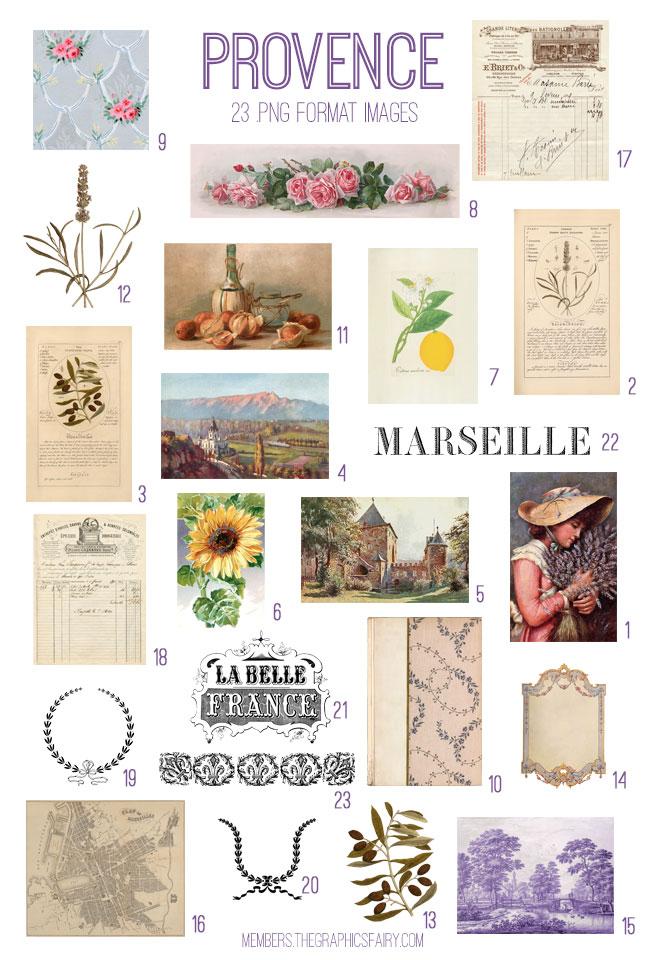vintage Provence ephemera digital image bundle