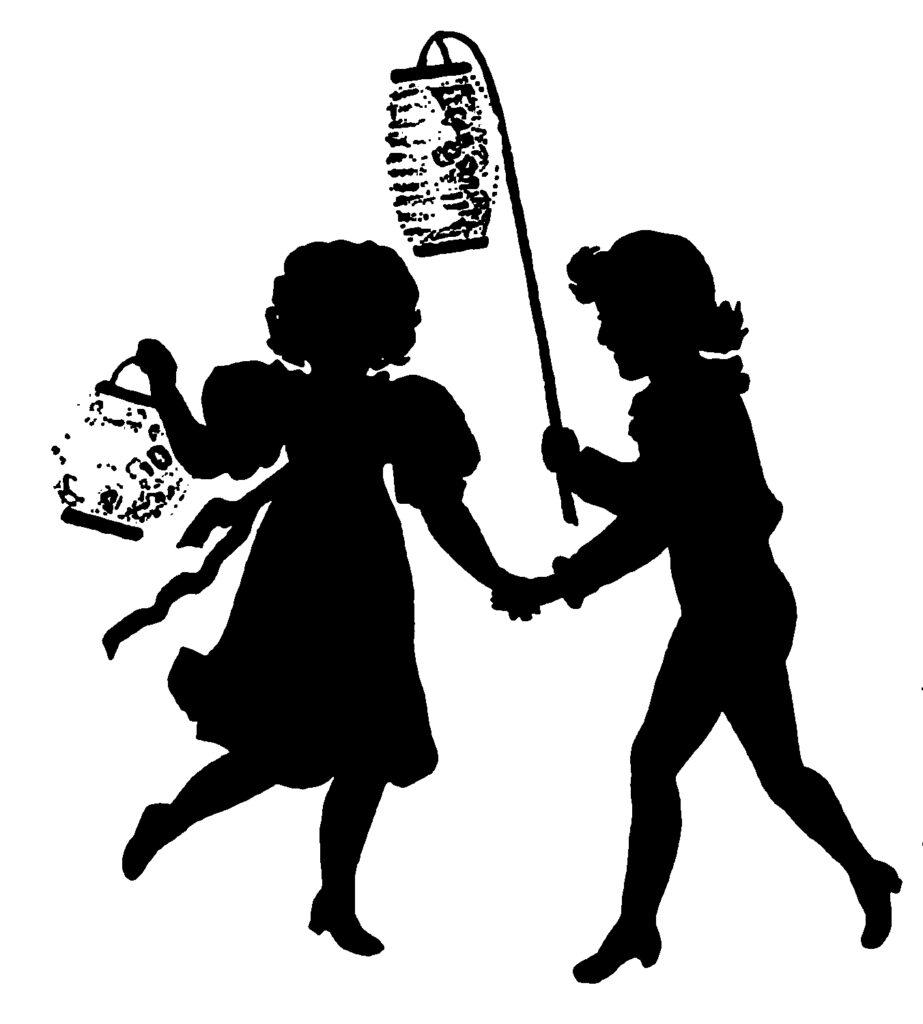 black white silhouette children lanterns clipart