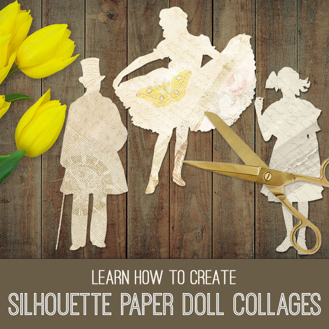 silhouette paper doll collages pse tutorial