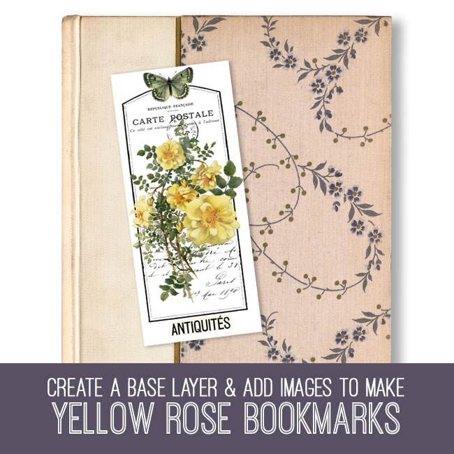 PSE tutorial Yellow Rose Bookmarks