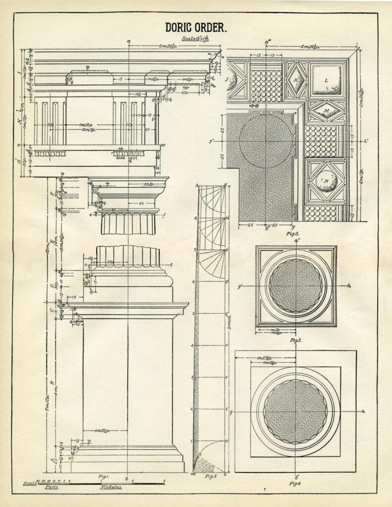 Antique Doric Column diagram illustration