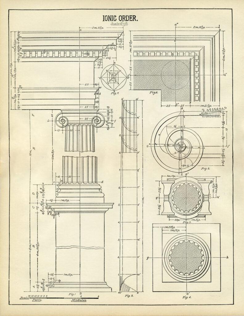 ionic column architecture print clipart