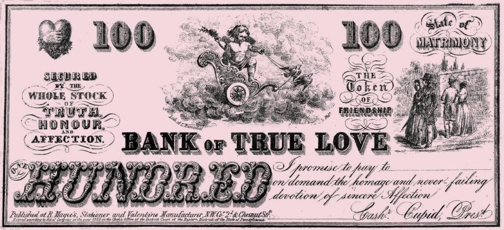 vintage Bank True Love Coupon check clipart